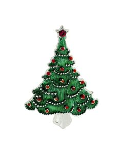 TOC Silvertone Green & Red Christmas Tree Brooch