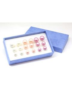 3 Sets of Simulated Pearl Earrings: Pink, Lilac, & White, 9 Sets of Earrings in 3 Sizes