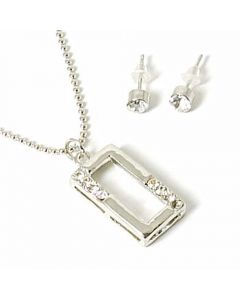 10x Rhinestone Set Rectangle Pendant and Stud Earrings Set