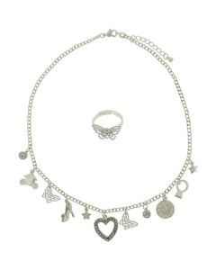 Disney Cinderella Fairytale Silvertone Multi Charm Necklace & Ring Gift Set