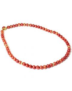 Dyed Bordeaux Spherical Freshwater Cultured Pearl Necklace 18""