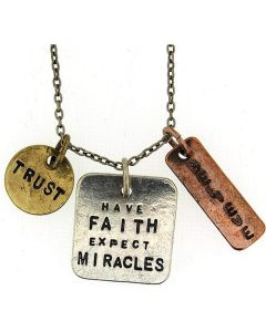 """Have Faith, Expect Miracles."" Triple Charm Tag Pendant Necklace 16""+3"" Extender"