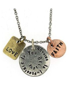 """Nothing Is Impossible If You Believe"" Triple Charm Tag Pendant 16""+3"" FJ1130"