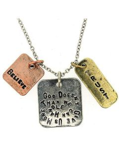 """God Doesn't Give Us More Than We Can Handle"" Triple Charm Tag Pendant 16""+3"""