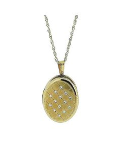 "Toc 9 Carat Yellow Gold 16mm Quilted Oval Locket Pendant on 18"" Chain"