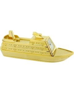 GTP Miniature Novelty Cruise Ship Solid Brass Desktop Collectors Clock IMP1005