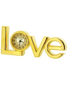 "Miniature Analogue Gold Plated Metal ""Love"" Novelty Collectors Clock IMP416"