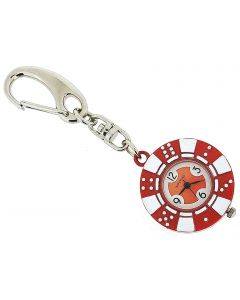 GTP Unisex Novelty £20.00 Red Poker Chip Clock Keyring An Ideal Gift IMP748R