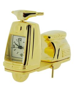 GTP Miniature Goldtone Scooter/Moped Novelty Desktop Collectors Clock IMP82