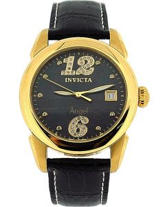 Invicta 'Angel' Ladies Analogue Date Black Leather Strap casual Watch INV0771