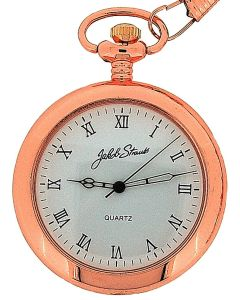 Jakob Strauss Gents Roman Numeral Open Face Rose Tone Pocket Watch JAST06