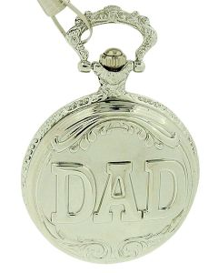 Fathers Day Gift Jakob Strauss Silver Tone ' DAD ' Gents Pocket Watch JAST12