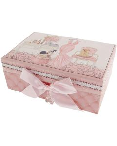 FMG ''Pink Parlour'' Pink Decorated Vanity Jewellery Case with Mirror