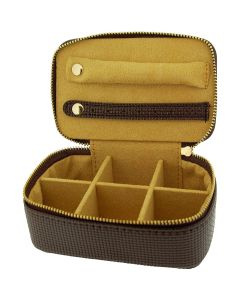 Mele Brown Pu Rectangle Small Jewellery Case Ideal For travel 1543