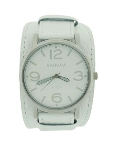 Kahuna Gents Analogue White Dial Wide White Leather Cuff Strap Watch KUC-0055G