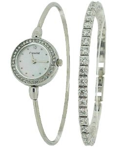 Accurist Ladies Silver Tone Bangle Watch & CZ Tennis Bracelet Gift Set LB1573.01