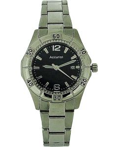 Accurist Ladies Black Dial Date All Stainless Steel Bracelet Strap Watch LB1674B