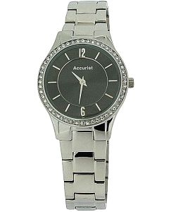 Accurist Ladies Black Dial Stone Set bezel Stainless Steel Strap Watch LB649GR
