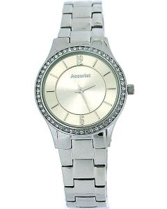 Accurist Ladies Champagne Dial Crystal bezel Stainless Steel Strap Watch LB649I