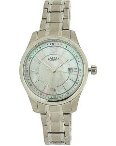 Rotary Ladies Date Mother Of Pearl Dial All Stainless Steel Watch LB72835/07