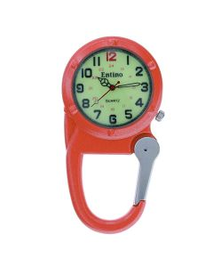 Entino Silver Clip on Carabiner Orange FOB Watch Luminous Dial Ideal For Doctors Nurses Camping