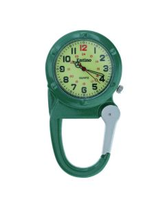 Entino Silver Clip on Carabiner Green FOB Watch Luminous Dial Ideal For Doctors Nurses Camping