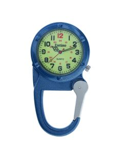Entino Silver Clip on Carabiner Blue FOB Watch Luminous Dial Ideal For Doctors Nurses Camping