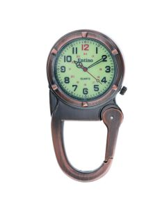 Entino Silver Clip on Carabiner Antique Copper FOB Watch Luminous Dial Ideal For Doctors Nurses Camping