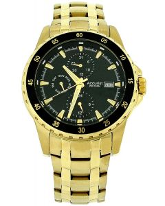 Accurist Gents Multi Dial Goldtone All Stainless Steel Bracelet Strap Watch MB937B