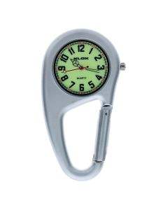 Silver Clip on Carabiner FOB Watch Green Luminous Dial Ideal For Doctors Nurses