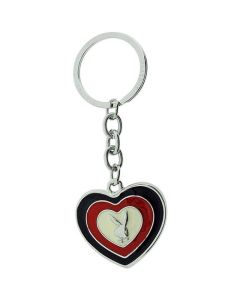 """PLAYBOY"" Black Red & White Heart (Love Affair) Keyring"
