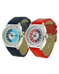 2 X Relda Time Teacher Red / Navy PU Strap Childrens Watch Gift Set + Award