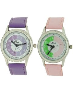 2 X Relda Time Teacher Pink / Lilac PU Strap Girl Kids Watch  Gift Set + Award