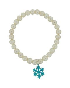 Jo For Girls Freshwater Cultured Pearl (5-6mm) Blue Snowflake Charm Bracelet