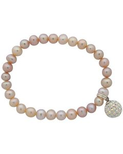 Jo For Girls Pink Freshwater Cultured Pearl (4-5mm) Disco Ball Charm Bracelet