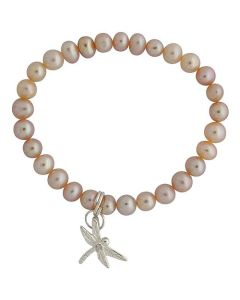 Jo For Girls Pink Freshwater Cultured Pearl (4-5mm) Dragonfly Charm Bracelet