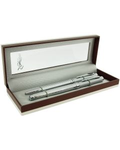 Stratton Silvertone Roller Ball & Biro Pen Gift Set - The Ideal Gift For Him or Her ST1006