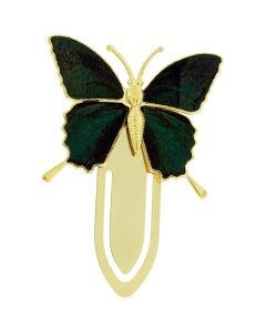 The Olivia Collection Goldtone Green & Black Butterfly Bookmark SC1228