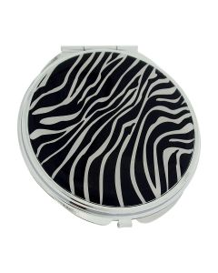 Compact Mirror FMG Silver Plated Zebra Designed Cover With True & Magnification Image SC1426