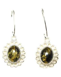 925 Silver Round Greeny Amber Drop Earrings By TOC