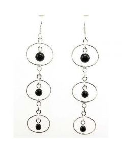 925 Silver Delicate Black Onyx Fancy Drop Earrings