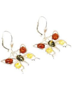 The Olivia Collection Sterling Silver 3 Colour Amber Butterfly Drop Earrings