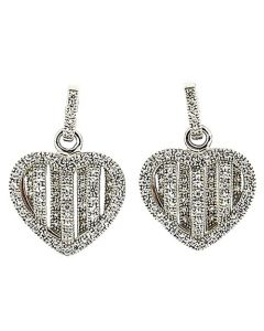 925 Silver Crystal Heart MicroPave Handmade Drop Earrings