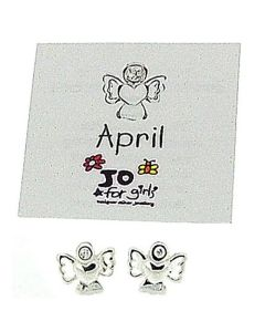 Jo For Girls Sterling Silver April Simulated Birthstone Angel Stud Earrings
