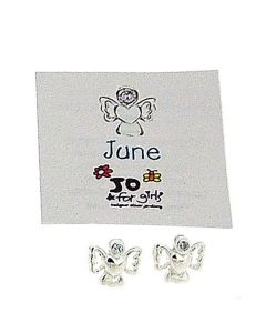 Jo For Girls Sterling Silver June Simulated Birthstone Angel Stud Earrings