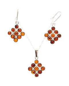 The Olivia Collection Sterling Silver Amber Pendant and Drop Earrings Set