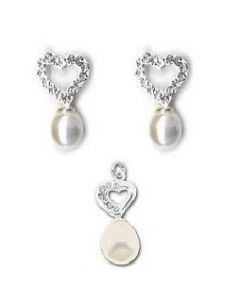 925 Sterling Silver Crystal Heart & Synthetic Pearl Pendant & Earrings Gift Set
