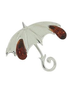 The Olivia Collection Sterling Silver & Amber Umbrella Brooch Pin