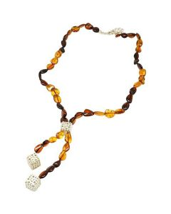 The Olivia Collection Double Drop Amber Bead Necklace With Silver Cubes