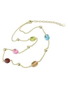 925 Silver Goldtone Necklace, 5 Multi Colour Oval Crystals, 18 Inch Chain